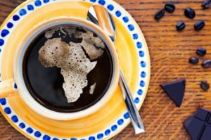 africa map into a cup of coffee